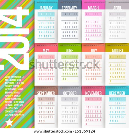 Vector design template - Calendar of 2014 with stitched labels-months - stock vector