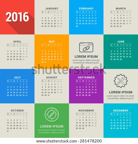 Vector Design Template. Calendar 2016. Week Starts Monday - stock vector