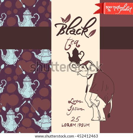 Vector design template for Black tea package with elephant logo. Isolated background with utensils objects