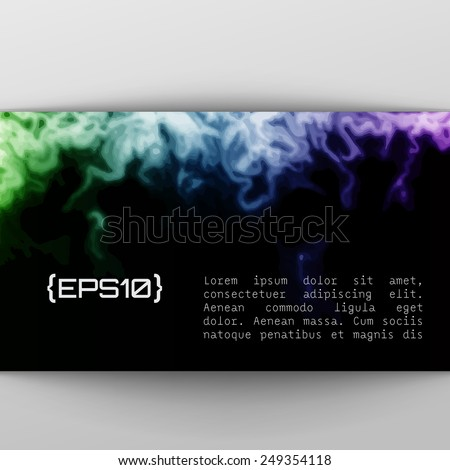 Vector design template with abstract purple, blue and green gradient  paint strokes, splashes and swirls on black background  for cards, banners, flyers - stock vector