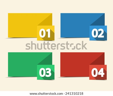 Vector design template with color numbered banners - stock vector