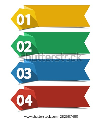 Vector design template with color numbered labels - stock vector