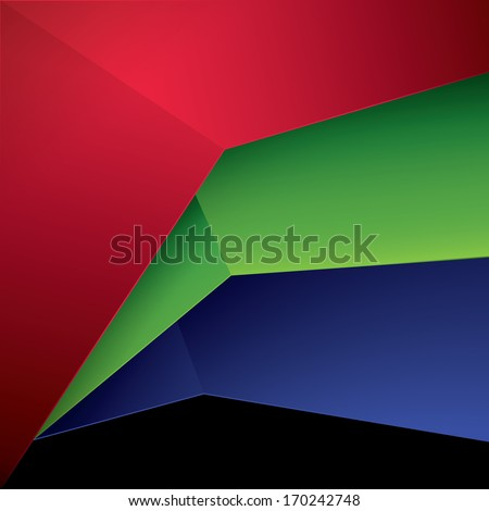 Vector design. Three  RGB color concept sheets in a geometric abstract minimal 3d composition for web, print,, brochure or infographics background. - stock vector