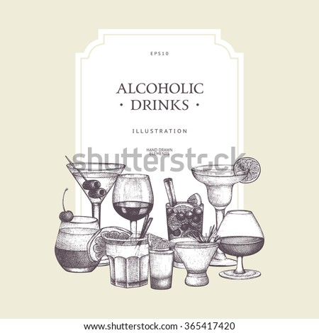 Vector design with hand drawn alcoholic drinks illustration. Vintage beverages sketch background. Retro template  - stock vector