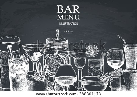 Vector design with hand drawn drinks illustration. Vintage beverages sketch background. Retro template isolated on chalkboard. - stock vector