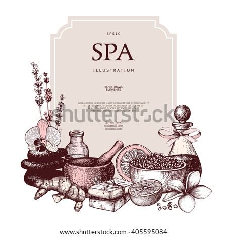 Vector design with hand drawn Spa illustration. Beauty sketch background with natural cosmetics. Vintage template with exotic and herbal elements. - stock vector
