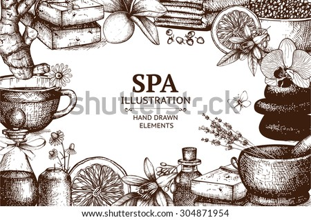 Vector design with  hand drawn spa illustration isolated on white. Spa sketch background with natural cosmetics. - stock vector