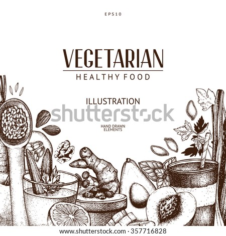 Vector design with hand drawn vegetarian food illustration. Organic food sketch background. Healthy food menu template. Vintage background  - stock vector