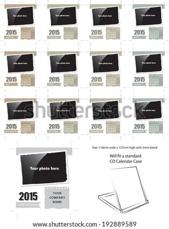 Vector Desk Calendar Template 2015 Simply Stock Vector 192889589