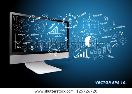 Vector desktop computer with drawing business plan concept ideas - stock vector