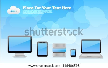 Vector desktop wallpaper or placard background with cloudy sky, 3d high-detailed computer devices with reflections and place for text. Image contains transparency, 10 EPS