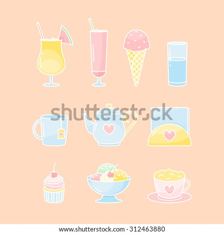 Vector desserts and drinks icon set - stock vector