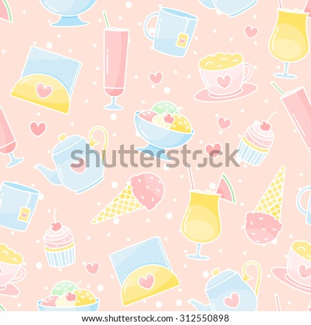 Vector desserts and drinks seamless pattern - stock vector