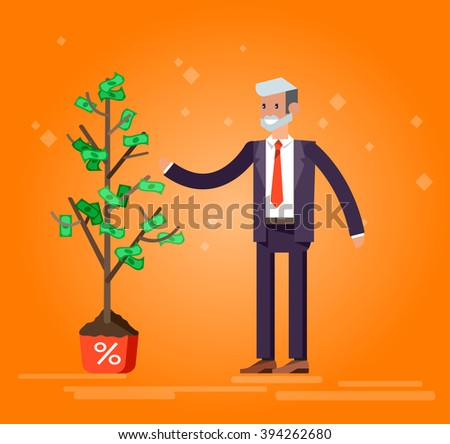 Vector detailed character business investor has the money gains. Earnings have grown as a tree with dollars. Web concept - stock vector