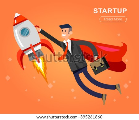 Vector detailed character businessman with startup. Flat style website banner startup concept web infographics. Rocket fly with business hero - stock vector