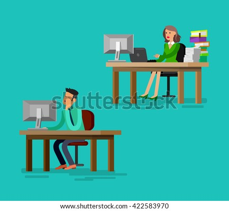 Vector detailed character corporate business team people  sitting behind desk. Office worker. Men and women, cool flat  illustration. Vector business Office worker character  - stock vector
