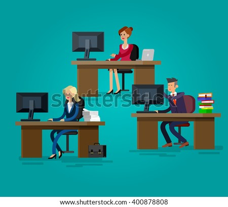 Vector detailed character corporate business team people  sitting behind desk. Office workers. Men and women, cool flat  illustration - stock vector