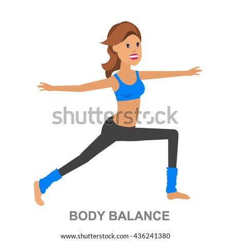 Vector detailed character fit woman and fitness workout. Happy and sporty. illustration. Woman goes in for sports, training