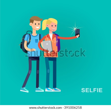 Vector detailed character flat design children students boy and girl make selfie. Kids  smiling holding Gadgets and backpacks. Primary or elementary school  - stock vector