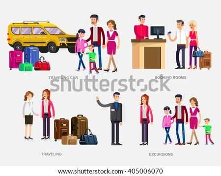 Vector detailed character people. Family summer holiday travel on car, Booking rooms in hotel, tour guide, female friend with bag and suitcase going traveling,  - stock vector