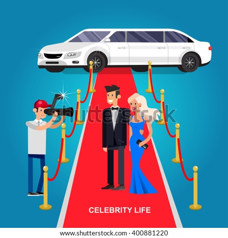Vector detailed character rich and beautiful celebrities, man in tails and blond woman in evening dress walking on a red carpet with limousine - stock vector