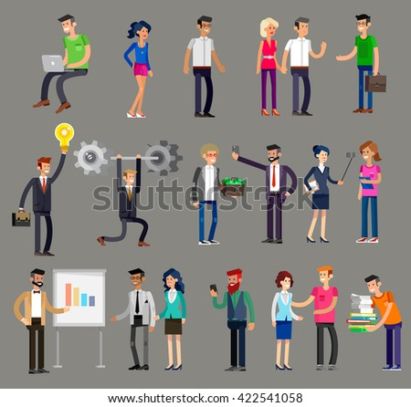 Vector detailed characters people, business people men and women in action. Business people shake hands, with a briefcase, secretary, big boss, startup man, colleagues, business people lifestyle - stock vector