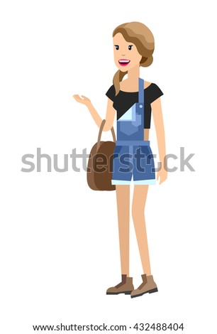 Vector detailed characters people, character business sudent, woman in casual clothing style