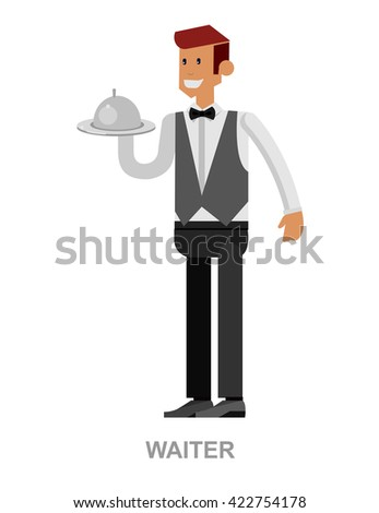 Vector detailed characters Young handsome waiter at restaurant isolated. Waitress image - stock vector