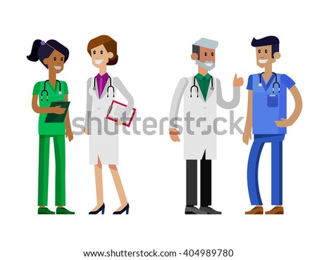 Vector detailed doctor character man, woman and nurse. Medical team isolated on white background. - stock vector