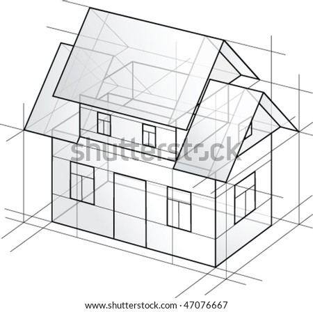 Vector detailed draft house with lines - stock vector