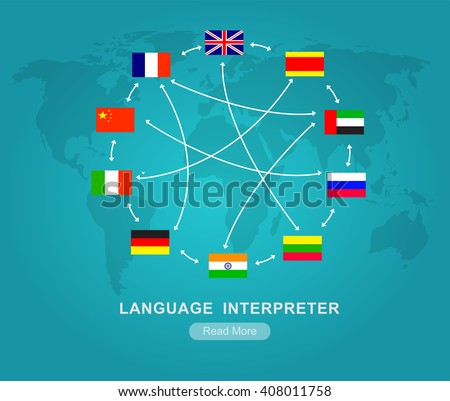 Vector detailed Language translator concept with flags of the world languages, cool flat  illustration Vector detailed Language translator concept with flags of the world languages - stock vector