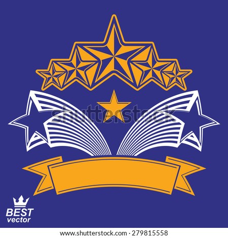 Vector detailed luxury 3d symbol. Monarch emblem, celebrative stars. Stylized brand icon, award concept graphic design element. - stock vector