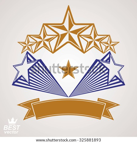 Vector detailed luxury 3d symbol. Monarch emblem, celebrative stars. Stylized icon, award concept graphic design element.