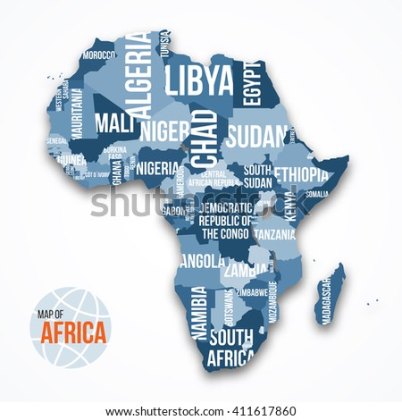 Vector detailed map of Africa with borders and country names. Education, business and travel infographic concept. - stock vector