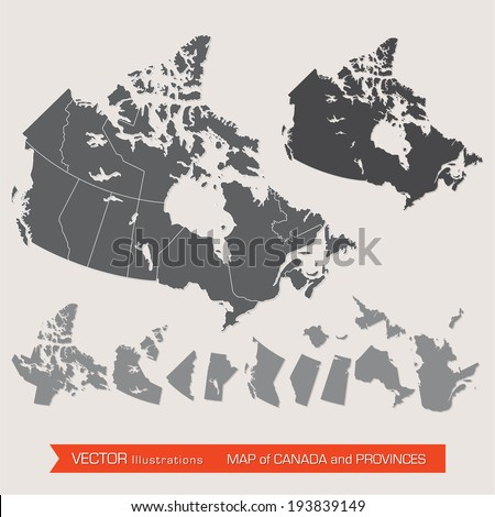 Vector Detailed Map Canada Provinces Stock Vector 193839149