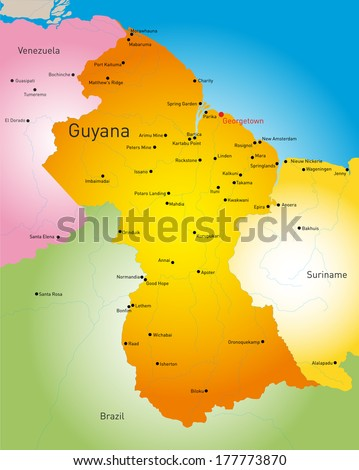 Vector detailed map of Guyana country - stock vector