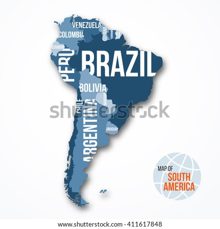 Vector detailed map of South America with borders and country names. Education, business and travel infographic concept. - stock vector