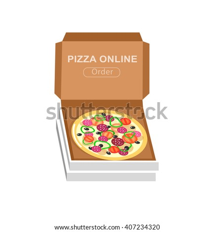 Vector detailed Online pizza order vector illustration fast to the door