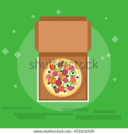 Vector detailed Online pizza order vector illustration, pizza delivery fast to the door