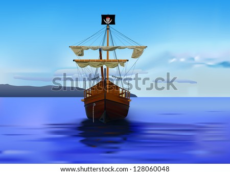 vector detailed pirates ship, eps 8 vector, gradient mesh used - stock vector
