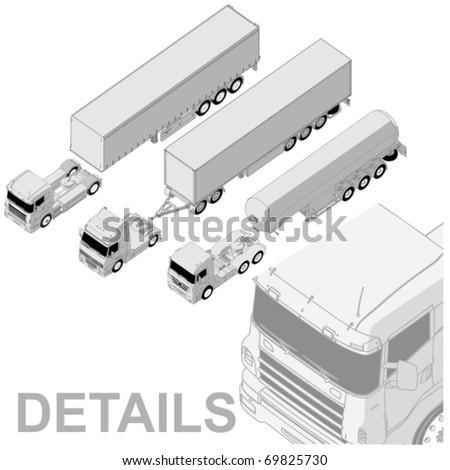 Vector detailed semi-truck set - stock vector