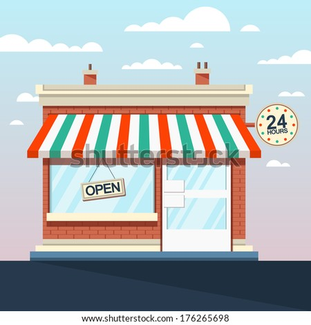 Vector Detailed Shop, Market, Store, Cafe Illustration, Icon - stock vector