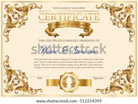Vector Detailed Vintage Style Certificate Of Achievement. Elegant Royal  Design For Completion, Appreciation Or  Free Certificate Of Achievement