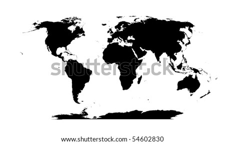 vector detailed World map silhouette - stock vector