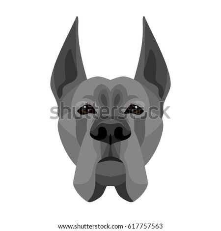 Vector deutsche dog breed face icon symbol of new 2018 year isolated on white background