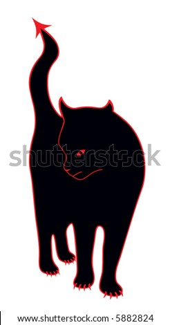 Vector Devil Cat - stock vector