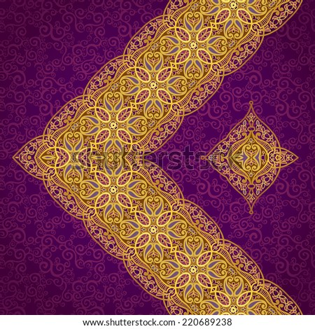 Vector diagonal border in Eastern style. Ornate element for design and place for text. Ornamental lace pattern for wedding invitations and greeting cards.Traditional golden decor on purple background. - stock vector