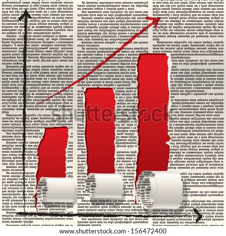 Vector diagram chart with column chart of holes in newspaper columns. Text is unreadable. - stock vector