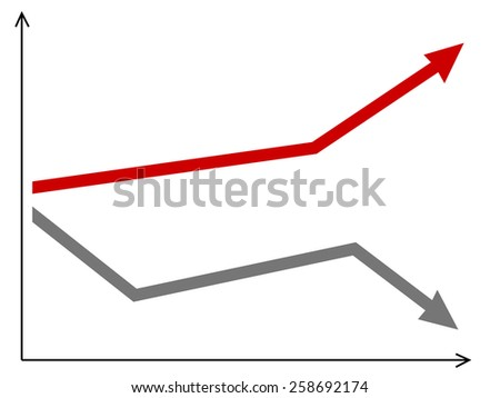 vector diagram with arrows going up and down - stock vector