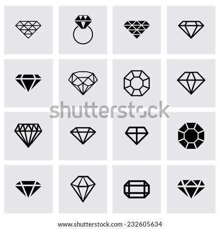 Vector diamond icon set on grey background - stock vector